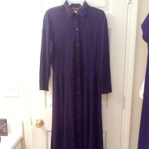 Vintage 60s Long Black Button Up Dress
